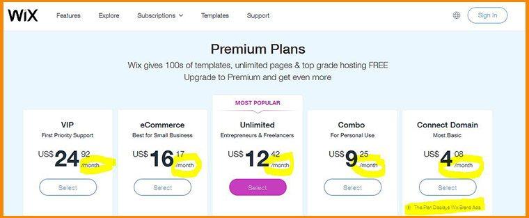 Wix Payment Plan