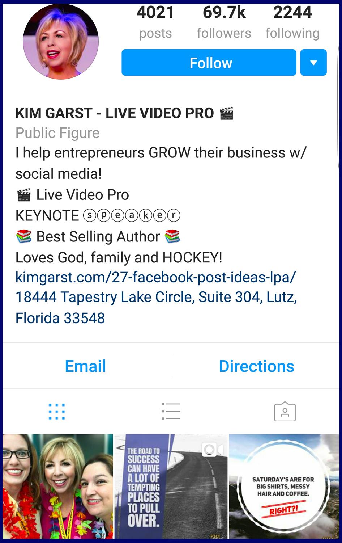 Kim Garst Instagram Profile