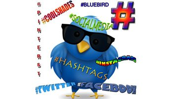 Twitter Bird with Hashtags